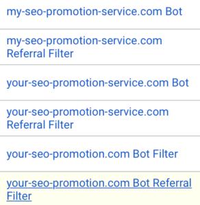 Angelegte Filter für Scammer-Domains